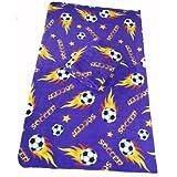LARGE Size 70x60 Soccer Ball Anti-pill Polar Fleece Blanket (Purple) - 5pcs