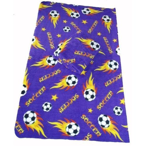 Standard Size 50x60 Soccer Ball Anti-pill THROW Polar Fleece Blanket (Purple) - 10pcs by DonxingUSA