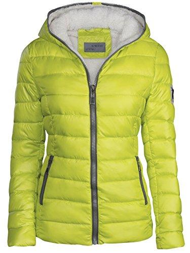 Chaqueta de invierno de mujer forrada corta acolchada de plumón con capucha, chaqueta de esquí térmica, nueva amarillo fluorescente