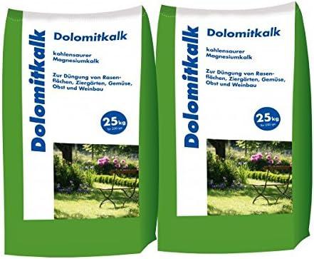 2 x 25 kg dolimita cal Césped cal – para la prevención de musgo Educación en el césped. Con Calcio y mucho Magnesio: Amazon.es: Jardín