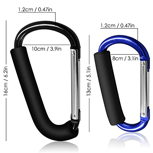 "3 Packs Grocery Bag Holder Handle Carabiners, FineGood 6.2"" 5.1"" Handy Extra Large D Shape Hooks Carrier Tool with Soft Foam Grip, for Shopping Bags Handbag Tote Stroller Accessories Black, Blue"