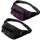 ZOORON Running Belt Waist Pack Bag - Water Resistant Runners Belt Fanny Pack for Hiking Fitness (a5-Black&Pruple)