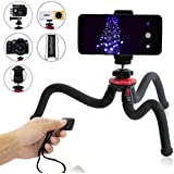 Qualmond Universal Flexible Tripod: Phone, Camera, Gopro Tripod Adapters For Iphone, DSLR, Smartphone-Sturdy,C.Bag,Lightweight, Handy Tripod Stand w/Bluetooth Remote Control-Octopus Style, Black&Red
