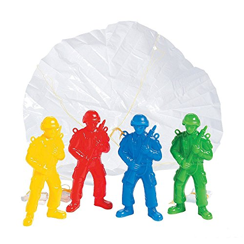(Kicko Plastic Army Parachute Men - Paratroopers - 4.25 Inches - Pack of 10 - Assorted Colors Cool Airborne Soldiers - for Kids Great Party Favors, Bag Stuffers, Fun, Toy, Gift, Prize)