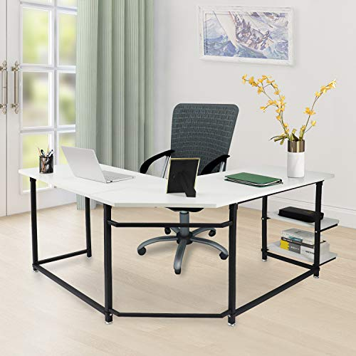 L-shaped Desk Modern (Sigetree Modern L-Shaped Desk Corner Computer Desk PC Laptop Table Wood Workstation Home Office Furniture,with Reversible and Adjustable Bookshelves & CPU Stand(White))