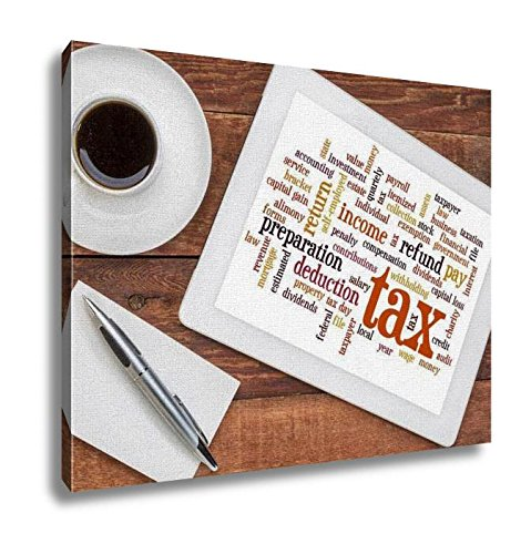 Ashley Canvas, Tax Word Cloud On Tablet, Kitchen Bedroom Dining Living Room Art, 24x30, - Sales Usa Tax Refund