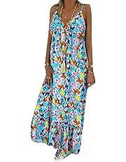 GAGA فستان نسائي طويل لعطلة الشاطئ فستان شمس بوهو العميق الخامس الرقبة