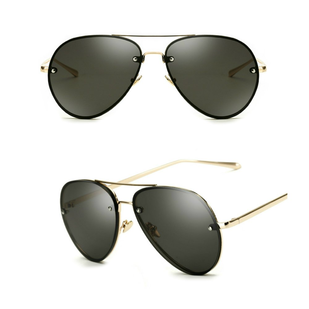 820e8e01829c Amazon.com  Oversized Aviator Sunglasses Vintage Retro Gold Metal Frame  Colorful Lenses 62mm (2 pack  black