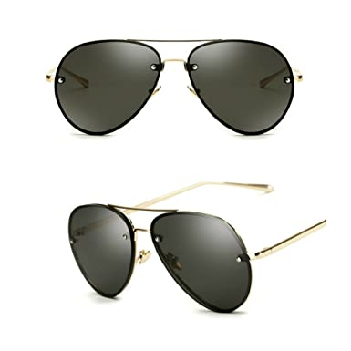 47457d80a9 Oversized Aviator Sunglasses Vintage Retro Gold Metal Frame Colorful Lenses  62mm (2 pack  black