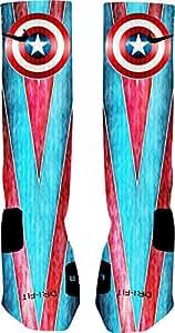 Captain American Custom Nike Elite Socks (Small 4-6)