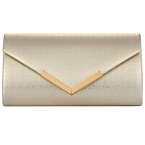 Womens Evening Clutch Bag Wedding Purse Bridal Prom Party Bag Hard Case Handbag (GOLD) by Hibags