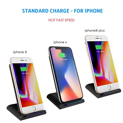 AMIR Wireless Charger Stand, Fast Charging Pad with 2 Coils Cell Qi Standard, for Samsung Galaxy S8 Plus / S8 / Galaxy S7 / S7 Edge / Note 5 / S6 Edge Plus, & Android Smartphones