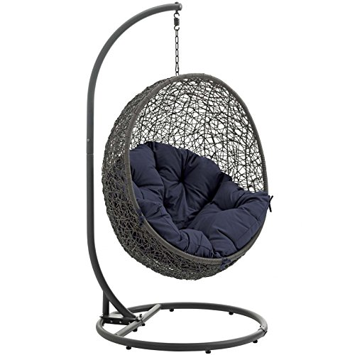 Modway Hide Outdoor Patio Swing Chair, Gray Navy