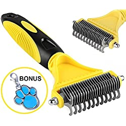 Pet Dematting Comb by COOWIND with 2 Sided Professional Rounded Teeth Steel Rake,Removes Undercoat Mats & Tangled Knots,Safe & Easy,Suit for all Hairy Cats and Dogs