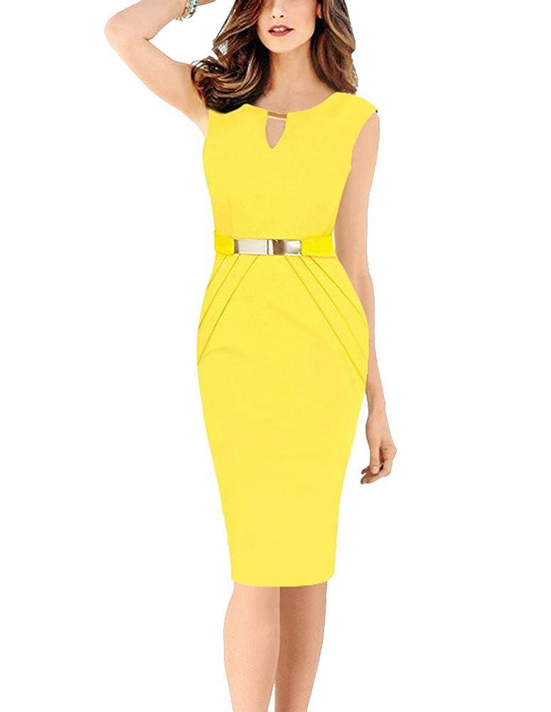 Damen Kleid Kurz Etuikleid Knielang Abendkleid Ärmellos SchulterfreiElegant Bodycon Business