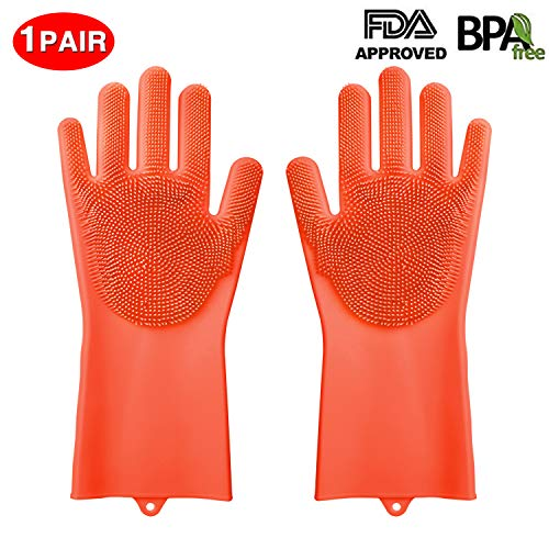 - Silicone Gloves, XINYAN Magic Silicone Dishwashing Gloves with Scrubber Reusable Rubber Gloves for Home Kitchen Bathroom Car Washing (Orange)