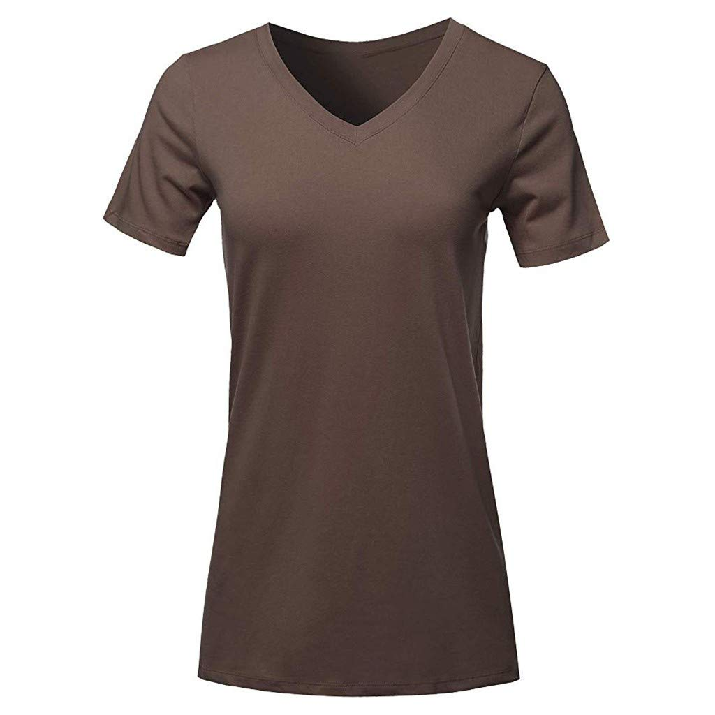 T-Shirt for Women Short Sleeve V-Neck Solid Color Casual Fashion Tee Tunic Tops Blouse (S, Brown)