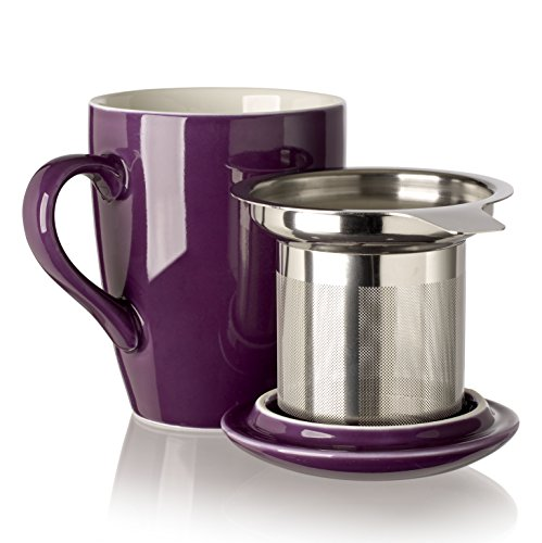 (Adagio Teas 10087 Porcelain Mug with Infuser, 12 oz, Plum)