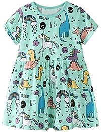 Toddler Girl Animal Stripe Cotton Long Sleeve Dress Baby Girls Winter Casual Dresses 2-8 Years