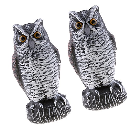 (Baoblaze 2pcs Garden Owl Repels Birds Repeller Defense Figure Decor Statue Plastic)