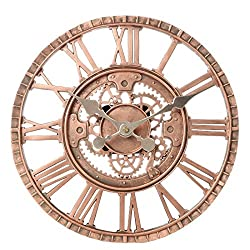 Lily's Home Hanging Wall Clock, Steampunk Gear and Cog Design with a Bronze Finish, Ideal for Indoor or Outdoor Use, Poly-Resin (12 Inches Diameter)