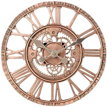 Lilyu0027s Home Indoor Outdoor Wall Clock, Steampunk Gear Cog Design, 12 Inch,  Bronze