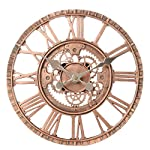 Lily's Home Hanging Wall Clock, Steampunk Gear and Cog Design with a Bronze Finish, Ideal for Indoor or Outdoor Use, Poly-Resin (12 Inches Diameter) 6