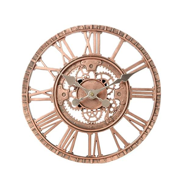 Lily's Home Hanging Wall Clock, Steampunk Gear and Cog Design with a Bronze Finish, Ideal for Indoor or Outdoor Use, Poly-Resin (12 Inches Diameter) 3