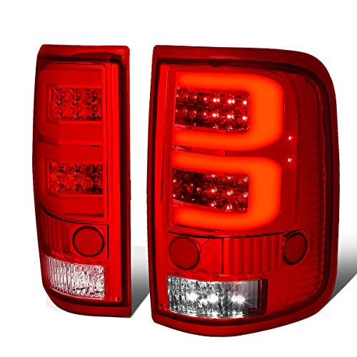 Pair of Red Lens Dual 3D LED Tube Bar Tail Lights Brake/Reverse Lamps for Ford F150 Lobo 04 05 06 07 ()
