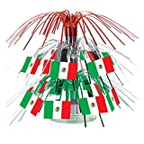 Club Pack of 12 Green, Red and White Mexican Flag Cascade Centerpieces Party Decorations 7.5''