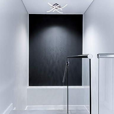 ALLOMN Luz de Techo LED, Lámpara de Araña Lámpara de Techo de Diseño Curvo Moderno con luz Ondulada de 4 Piezas para Sala de Estar Dormitorio Comedor (28W 4 Luces Blanco Frío):