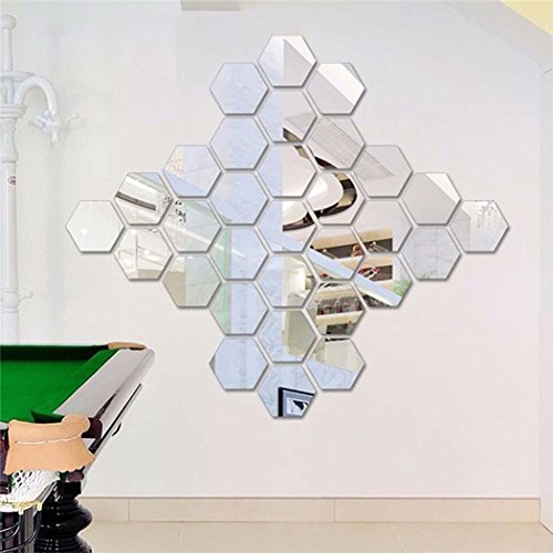 Elever Mirror 12 Piece Hexagon Acrylic Mirror Wall Stickers Wall Decor Home Decoration (Decorations Sticker)