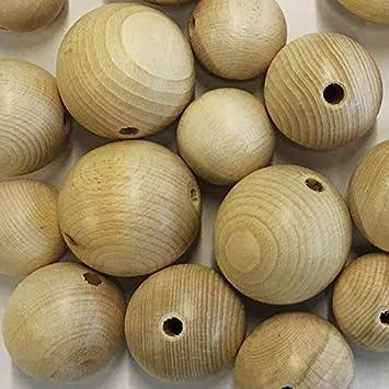 Größe 20mm 10 Stück Holzkugeln halbgebohrt