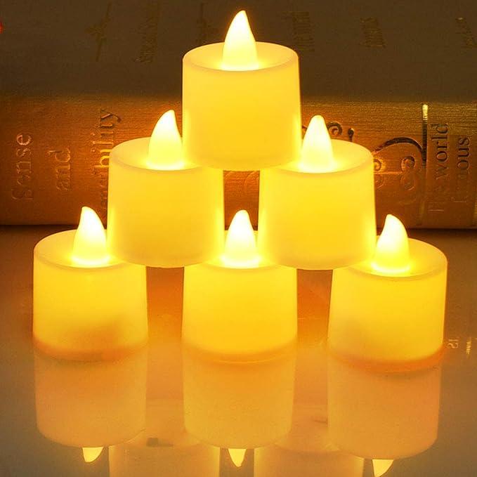 Nakeey Led Flameless Kerzen Teelichter mit CR2032 Batterien,Warmwei/ß Flackern Elektrische Kerze f/ür Ostern,Party,Weihnachten,Hochzeit,Halloween LED Kerzen LED Teelichter LED Flammenlose Tealights