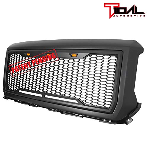 Tidal Replacement Upper ABS Grille Front Hood Grill With Amber LED Lights - Matte Black for 14-15 GMC Sierra 1500 Diamond Plate Hood Vent
