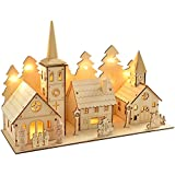 WeRChristmas 35 cm Pre-Lit Wooden Church and Village Scene Christmas Decoration Illuminated with 12 Warm White LED Lights by WeRChristmas