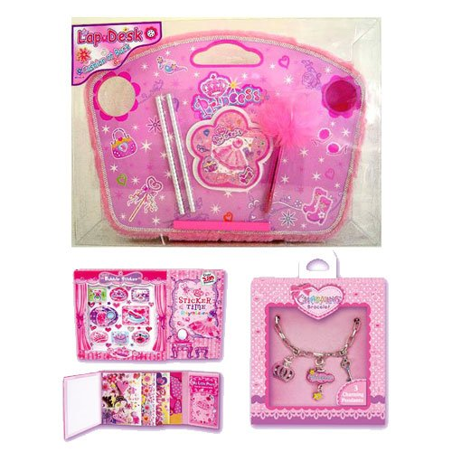 Pink Princess Wooden Lap Desk with Princess Charm Bracelet & Princess Sticker Book
