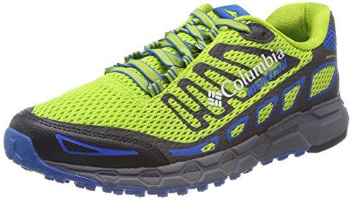 Columbia Hombre Zapato de Trail, Bajada III Verde (Bright Green / Blue Magic 363)