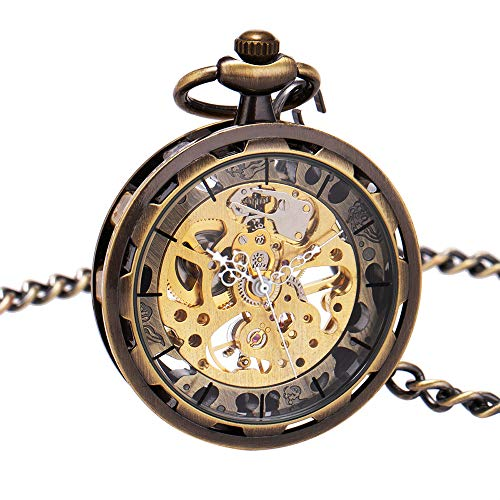 ManChDa Mens Steampunk Transparent Open Face Pocket Watch Skeleton Dial Bronze Case with Chain + Gift Box -