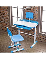 Yinleader Kids Desk and Chair Set, Height Adjustable Children Study Table with Wood Tiltable Anti-Reflective Tabletop, Bookstand, Pull-Out Drawer Storage and Touch Led for School Students
