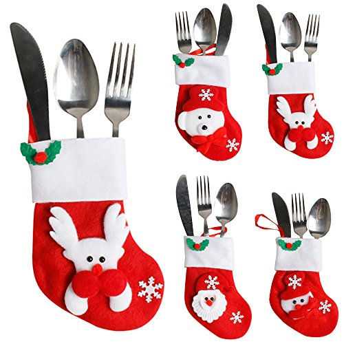 Hot Sales!! ZOMUSA Christmas Silverware Holders Christmas Cutlery Holders Cute Decoration for Ch ...