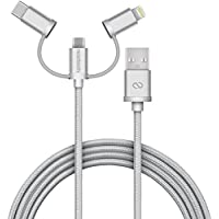 Naztech Braided 3-in-1 Hybrid USB Cable for USB-C, Lightning, and Micro USB devices (Silver)