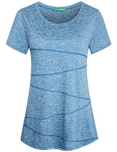 Kimmery Performance Shirts Women, Girls Casual Sport Wear Tops Short Sleeve Crew Neck Fitted Gym Cloth Novel Design Fashionable Sweat Absorption Vibrant Cozy Cotton Jersey Blouse Light Blue Medium