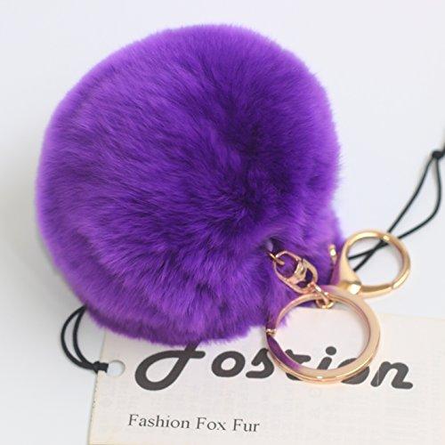 Fosrion Rabbit Fur Ball Pom Pom Keychain for Bag Charms with Silver Key Ring (Purple)