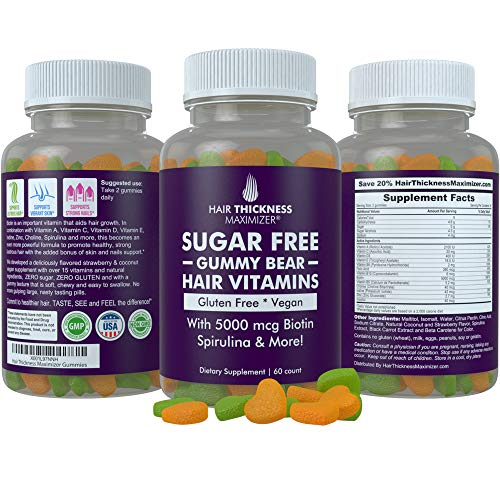 Sugar Free Hair Gummy Bear Vitamins by Hair Thickness Maximizer | with Biotin 5000 mcg. Vegan, Gluten Free, Chewy Natural Hair Vitamin Gummies for Men and Women. Great for Hair Growth, Skin and Nails (Best Hair Vitamins For Growth And Thickness)