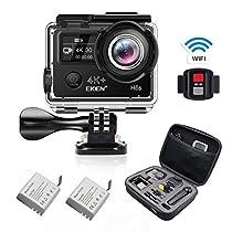 EKEN H9s 4K Action Camera Diretta Streaming Wifi Impermeabile Camera sportiva con Video 4K30/ 2.7K30/ 1080p60/ 720p120fps 12MP Foto e 170 lenti grandangolari include 10 kit di montaggio 2 Batterie (Nero)