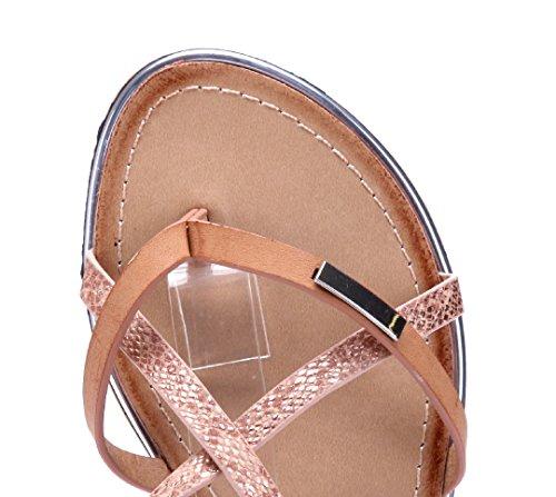Schuhtempel24 Damen Schuhe Zehentrenner Sandalen Sandaletten Flach Camel