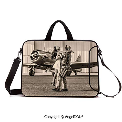 AngelDOU Customized Neoprene Printed Laptop Bag Notebook Handbag Brunette Young Woman Hugging a Pilot Historic Aircraft Homecoming Image Decorati Compatible with mac air mi pro/Lenovo/asus/acer S