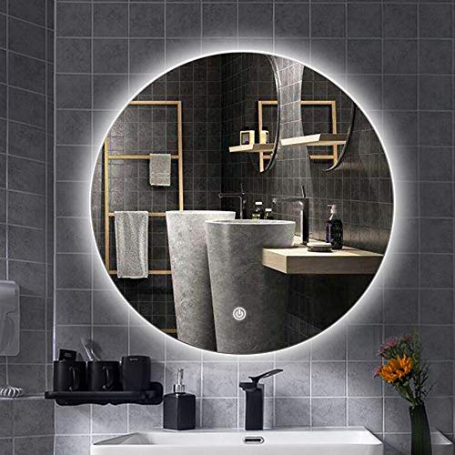 Bathroom mirror Modern Round Backlit LED Bathroom Light Mirror Wall Hanging Frameless - And Mirrors Led Bluetooth With Bathroom Demister
