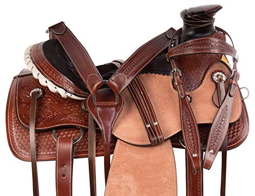 """AceRugs Hand Carved Western Rough Out Leather Wade Tree Roping Ranch Horse Saddle TACK 14"""" 15"""" 16"""" (15)"""